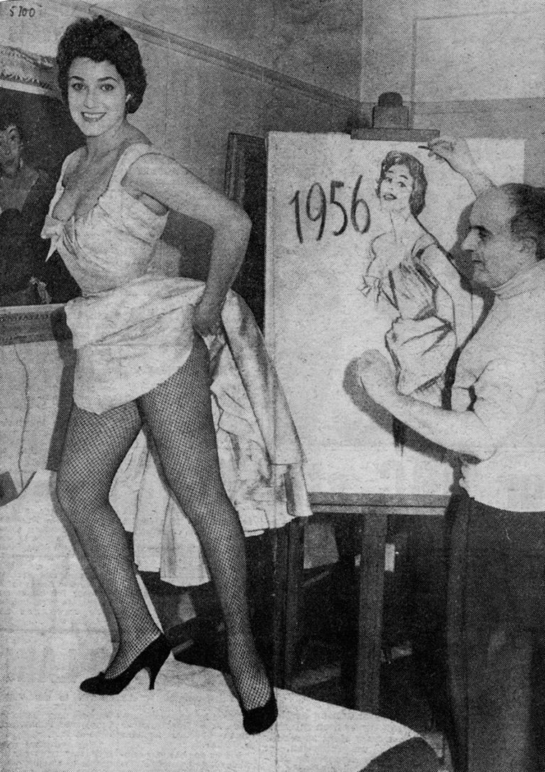 Françoise Fabian pose pour le calendrier 1956