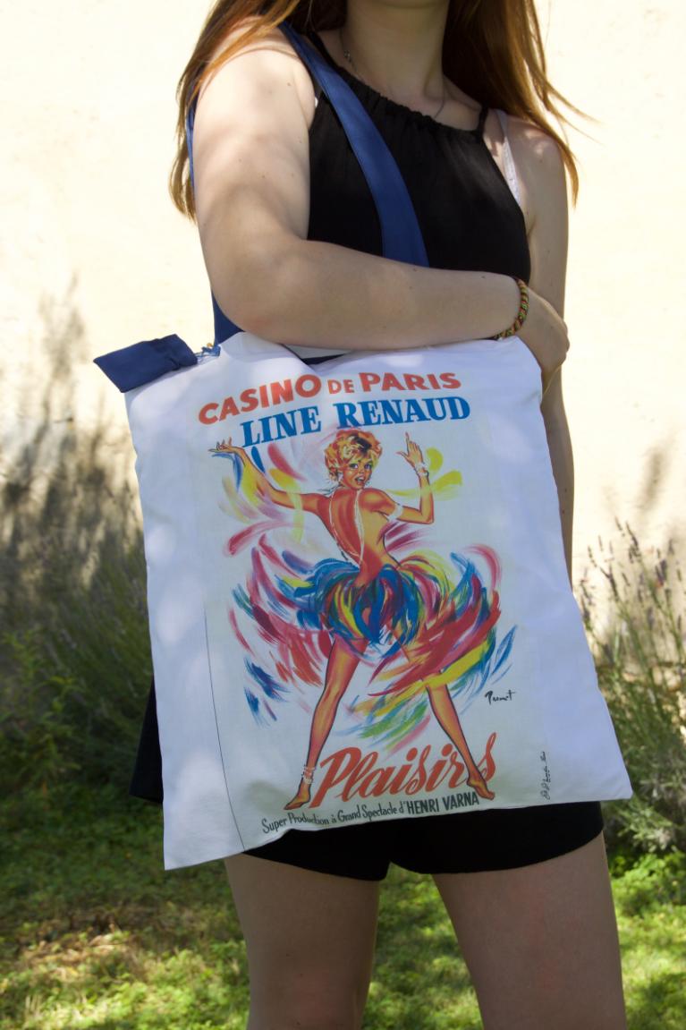 Tote bag (sac) de fabrication artisanale, illustré par l'affiche signée Brenot du Casino de Paris avec Line Renaud