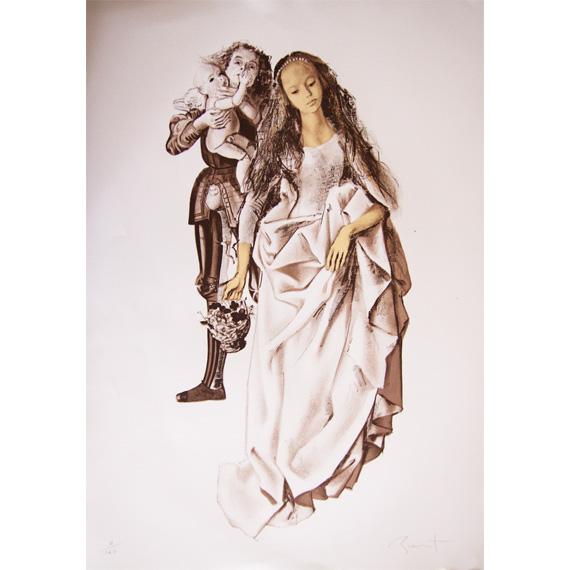 Lithographie « La Dame, le Chevalier et l'Amour » numéroté tirage à 140 exemplaires seulement