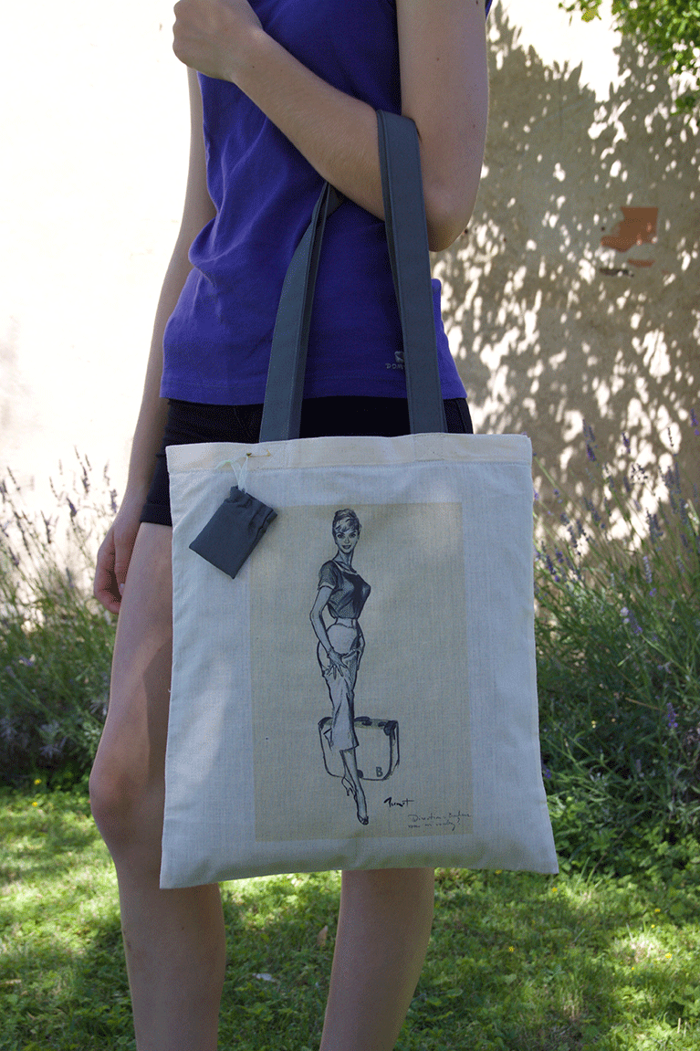 Tote bag Brenot, modèle pin-up direction bonheur, fabrication artisanale